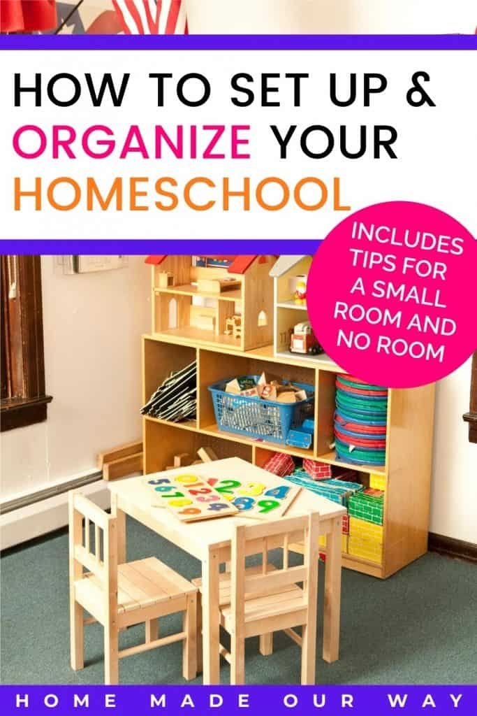 pin image for setting up and organizing a homeschool post