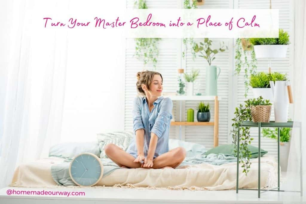 woman on bed for master bedroom declutter and organize post