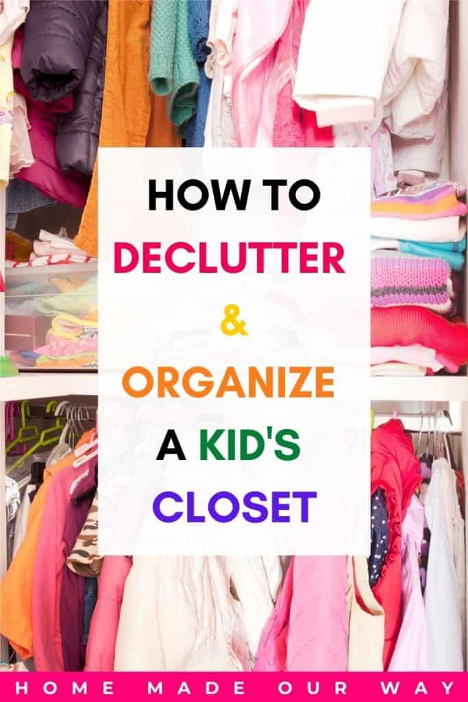 pin image for kids' closet organization post