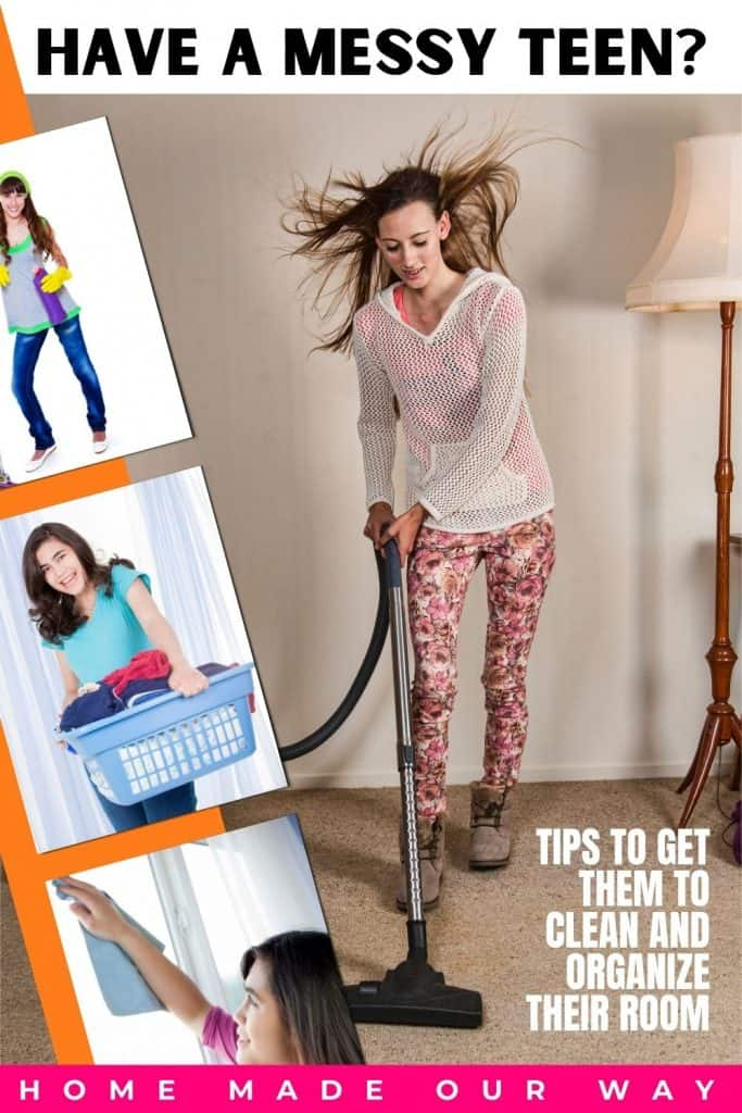 pin image for How to Get Your Teen to Clean and Organize Their Room post