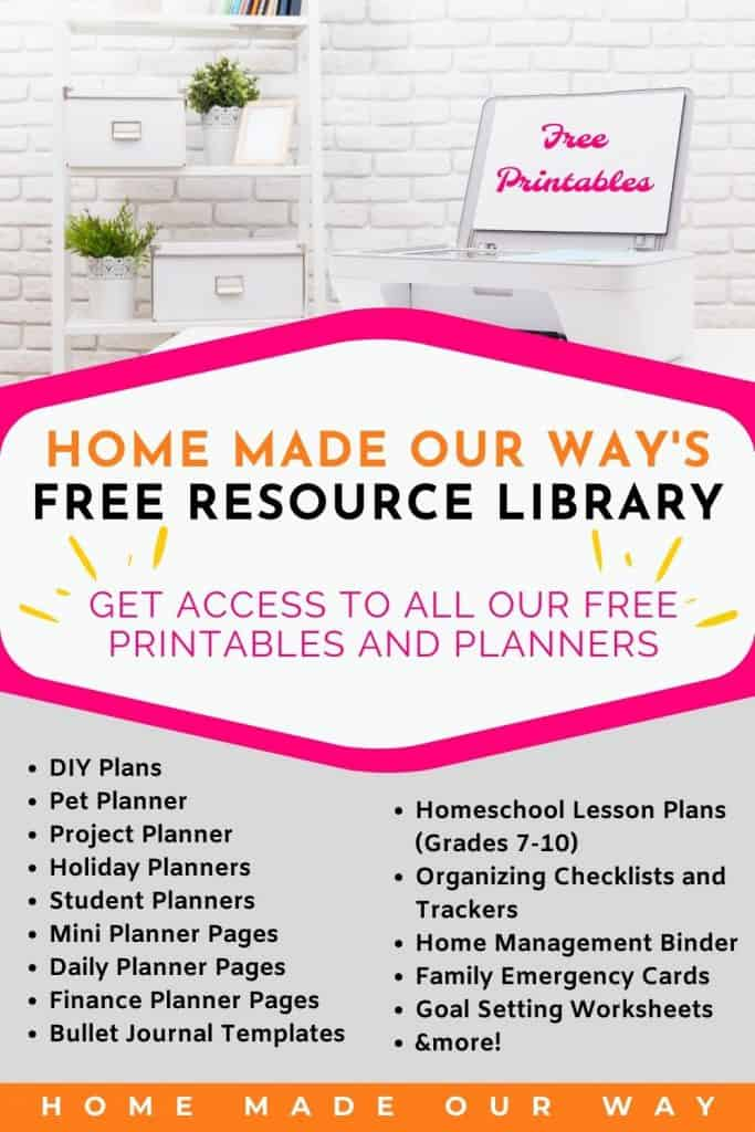 pin image for Home Made Our Way's free resource library